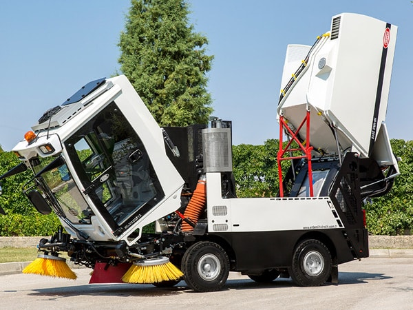 Street Sweeping Machine Discharging Into Garbage Container or Garbage Collecting Truck